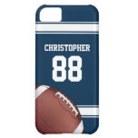 Blue and White Stripes Jersey Grid Iron Football Cover For iPhone 5C