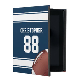 Blue and White Stripes Jersey Grid Iron Football iPad Case