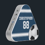 """Blue and White Stripes Jersey Soccer Ball Bluetooth Speaker<br><div class=""""desc"""">Perfect for the soccer fan or soccer player whose team colors are dark blue and white, with a soccer jersey style design in dark blue with white stripes and customizable text for their name and number. A soccer ball is also featured as part of the design. Would you like this...</div>"""