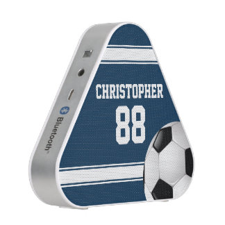 Blue and White Stripes Jersey Soccer Ball Bluetooth Speaker