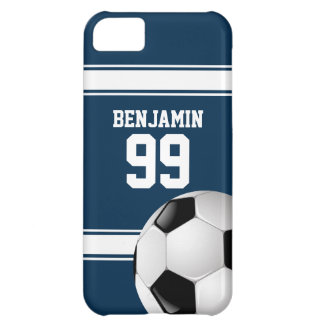 Blue and White Stripes Jersey Soccer Ball iPhone 5C Cover