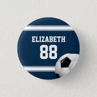 Blue and White Stripes Jersey Soccer Ball Pinback Button