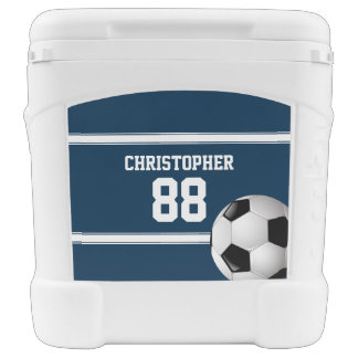 Blue and White Stripes Jersey Soccer Ball Rolling Cooler
