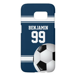 Blue and White Stripes Jersey Soccer Ball Samsung Galaxy S7 Case