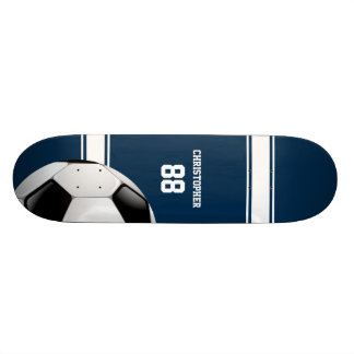 Blue and White Stripes Jersey Soccer Ball Skateboard