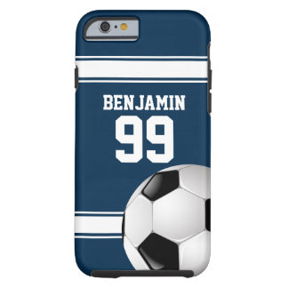 Blue and White Stripes Jersey Soccer Ball Tough iPhone 6 Case