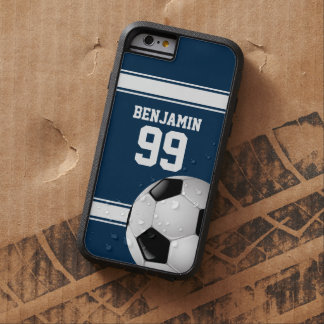 Blue and White Stripes Jersey Soccer Ball Tough Xtreme iPhone 6 Case