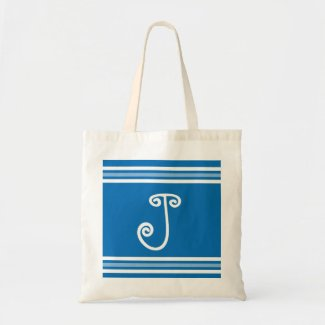 Blue And White Stripes Monogrammed Tote Bags
