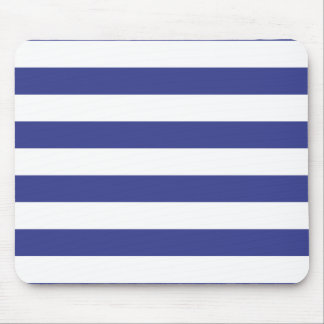 Blue and White Stripes Mouse Pad