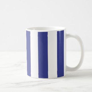 Blue and White Stripes Classic White Coffee Mug
