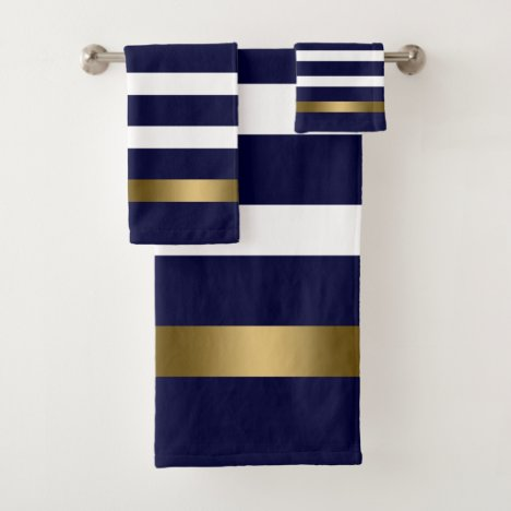 Blue and white stripes pattern gold accents bath towel set