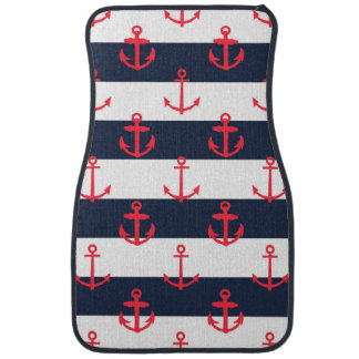 Blue and White Stripes, Red Anchors Pattern Car Floor Mat