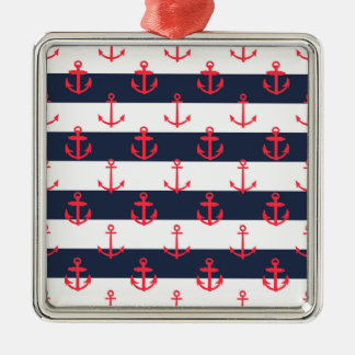 Blue and White Stripes, Red Anchors Pattern Metal Ornament