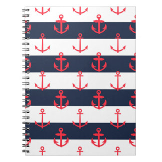 Blue and White Stripes, Red Anchors Pattern Notebook