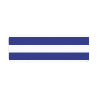 Blue and White Stripes Return Address Label