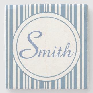 Blue and White Stripes Stone Coaster