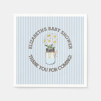 Blue and White Stripes with Mason Jar Baby Shower Paper Napkin