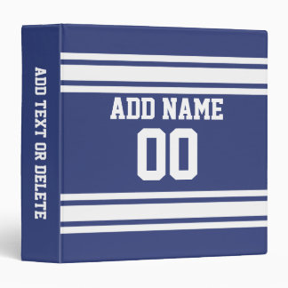 Blue and White Stripes with Name and Number 3 Ring Binder