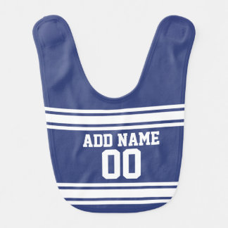 Blue and White Stripes with Name and Number Baby Bib