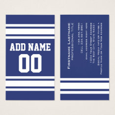 Blue And White Stripes With Name And Number Business Card at Zazzle
