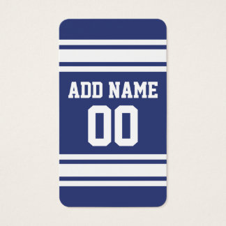 Blue and White Stripes with Name and Number Business Card