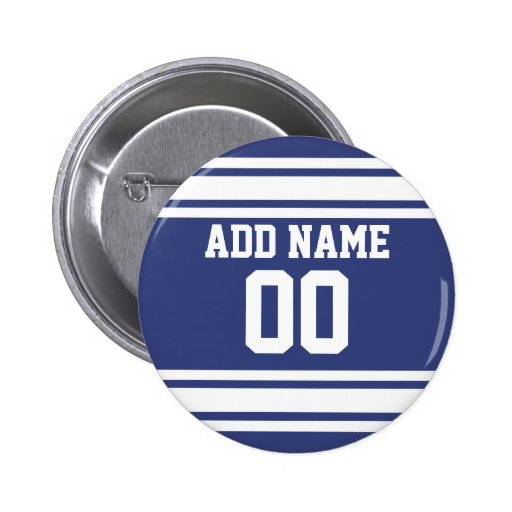 Blue and White Stripes with Name and Number Pinback Button