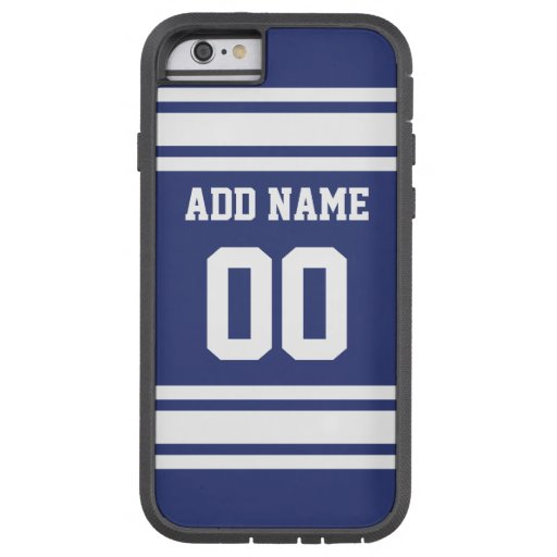 Blue and White Stripes with Name and Number iPhone 6 Case