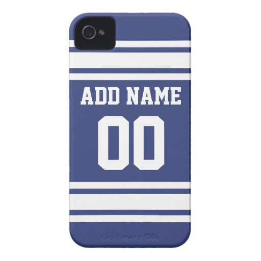 Blue and White Stripes with Name and Number iPhone 4 Case-Mate Cases