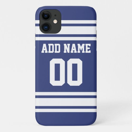 Blue and White Stripes with Name and Number iPhone 11 Case