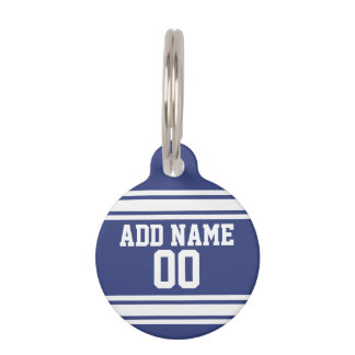 Blue and White Stripes with Name and Number Pet Name Tags