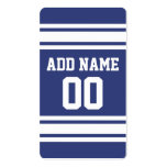 Blue and White Stripes with Name and Number Double-Sided Standard Business Cards (Pack Of 100)