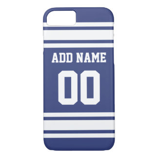 Blue and White Stripes with Name and Number iPhone 7 Case