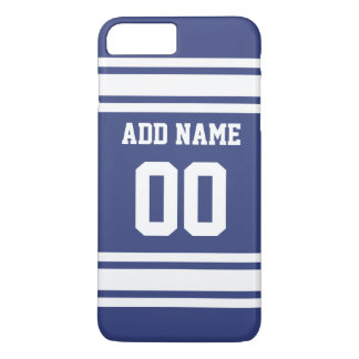 Blue and White Stripes with Name and Number iPhone 8 Plus/7 Plus Case