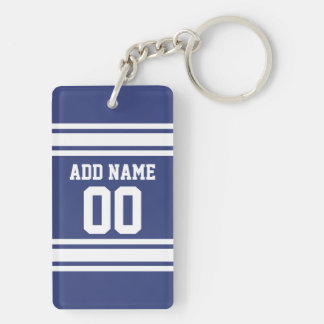 Blue and White Stripes with Name and Number Keychain