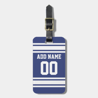 Blue and White Stripes with Name and Number Luggage Tag
