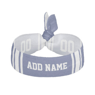 Blue and White Stripes with Name and Number Ribbon Hair Tie