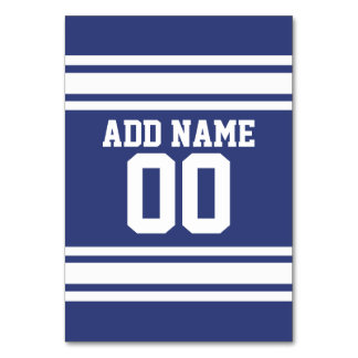 Blue and White Stripes with Name and Number Table Card
