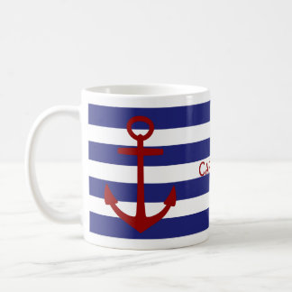 Blue and White Stripes with Red Anchor Coffee Mug