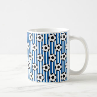 Blue and White Stripes with Soccer Balls Coffee Mug