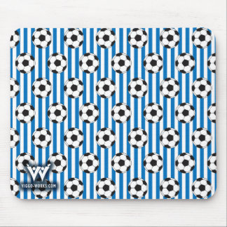 Blue and White Stripes with Soccer Balls Mouse Pad