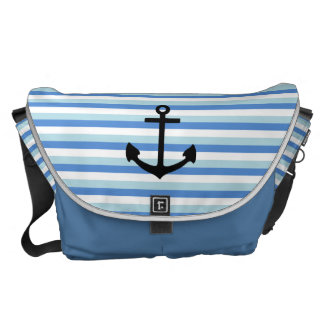 Blue and white strips, Fun, Anchor Courier Bag