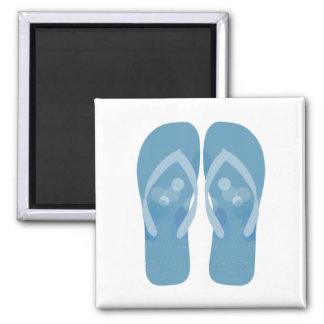Blue And White Summer Beach Flip Flops Magnet