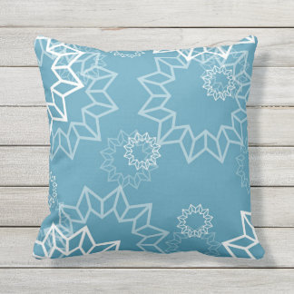Blue and White Sundial Pattern Outdoor Indoor Outdoor Pillow