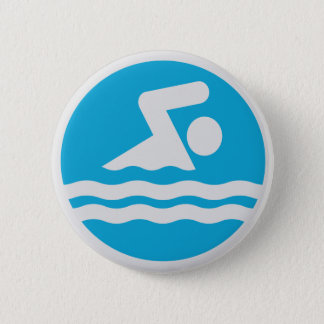Blue and White Swim Decal Button Pin