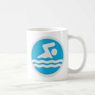 Blue and White Swim Decal Swimming & Diving Coach Coffee Mug