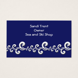 Blue and White Swirl Waves Customizable Template Business Card