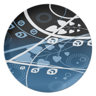 Blue and White Swirling Vines Party Plates