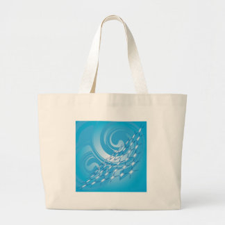 Blue and white swirls large tote bag