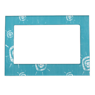 Blue and White Swirls Magnetic Picture Frame