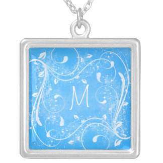 Blue and White Swirls Monogram Necklace